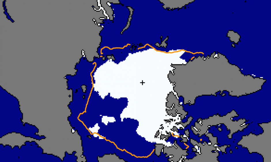 "Scientists expect that even average summer conditions may now result in ""dramatic"" sea-ice reductions. Image: NSIDC"