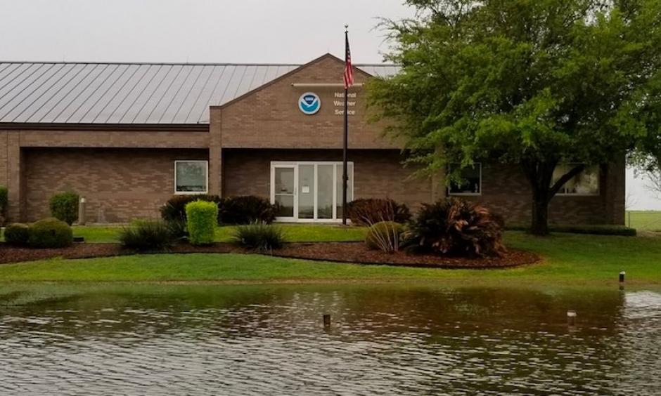 """High water hit the grounds of the National Weather Service in New Braunfels, TX, following more than 3"""" of rain overnight into Wednesday morning, March 28, 2018. Photo: NWS Austin/San Antonio"""