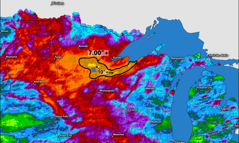 Total rainfall between July 5 and July 12, 2016. Much of the heavy rain in northern Minnesota and Wisconsin fell in the span of 24 hours. Image: Dennis Mersereau
