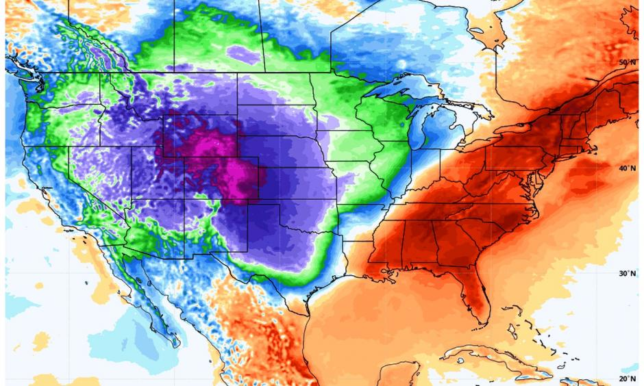 Temperature difference from normal over Lower 48 states at 2 a.m. Eastern time on Wednesday. Credit: WeatherBell.com