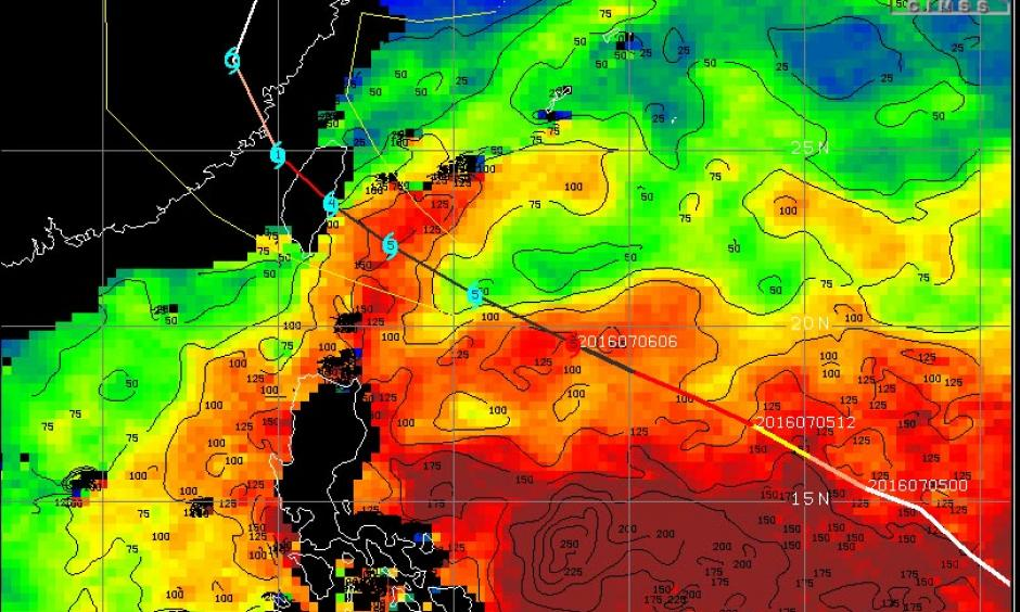 Total Ocean Heat Content (in kilojoules per square centimeter) on July 6, 2016. Image: University of Wisconsin/CIMSS