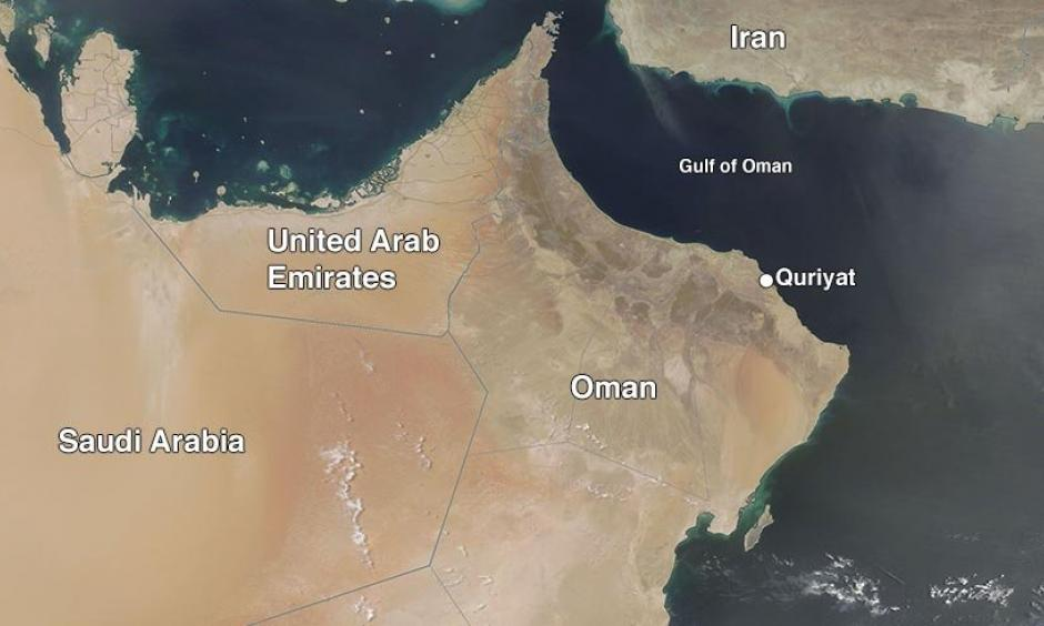 MODIS satellite image from June 26, 2018 shows clear weather over Oman on the day the 24-hour world high-minimum temperature record was set at Quriyat, Oman. Image: NASA
