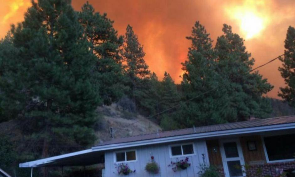 Dean Fox snapped a photo of his home before it was consumed Friday, Aug. 14, 2015, by the Canyon Creek Complex fire near John Day. As of Saturday, officials said at least 26 homes had been destroyed by the massive wildfire near John Day. Photo: Dean Fox, Les Zaitz, The Oregonian