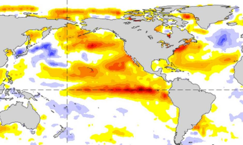 This sea surface temperature anomaly graphic shows both the blob and El Nino as they were in September of 2015. Photo: NOAA