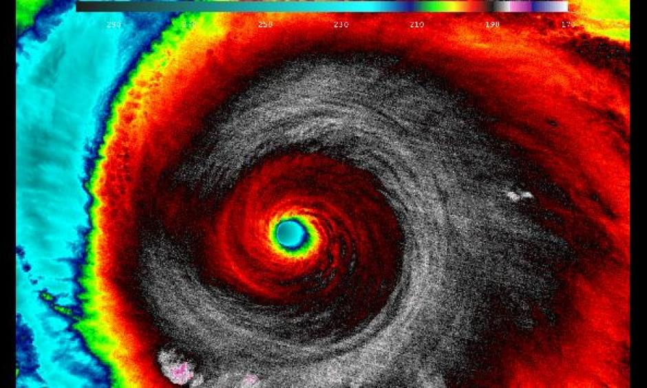 Hurricane Patricia at 5:20 a.m. EDT on Oct. 23, 2015, as seen by NASA-NOAA's Suomi NPP satellite using infrared light. Cloud top temperatures of thunderstorms around the eyewall were between -135.7 degrees Fahrenheit and -117.7 degrees Fahrenheit. Image: NASA/NOA
