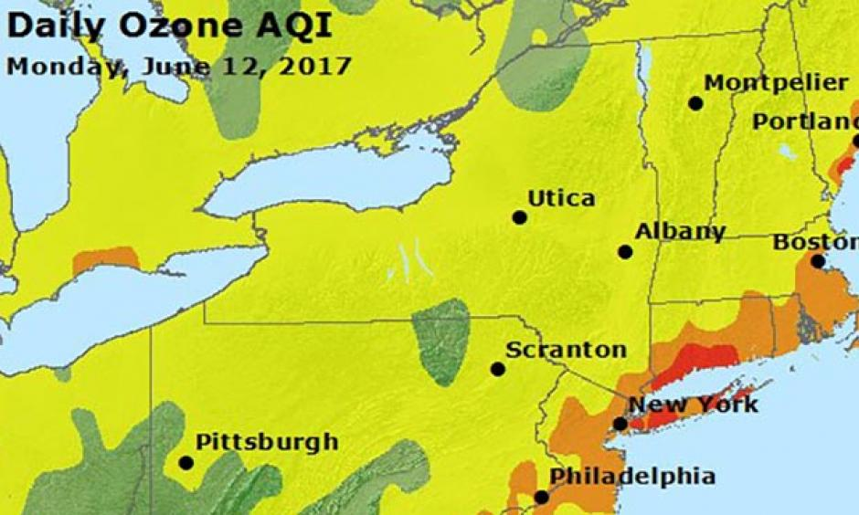 """Peak ozone pollution levels for Monday, June 12, 2017, as measured using the Air Quality Index (AQI). An AQI with red colors is """"Unhealthy"""", meaning everyone may begin to experience health effects, and members of sensitive groups may experience more serious health effects. An AQI in the orange range is """"Unhealthy for Sensitive Groups"""", meaning members of sensitive groups like the elderly and those with lung disease may experience health effects, but the general public is not likely to be affected."""
