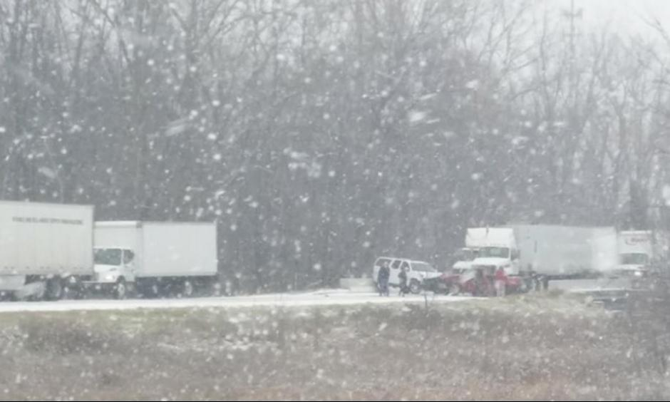 A shot of the major pileup that occurred on I-96 near Fowlerville, Michigan, Thursday morning. Photo: The Weather Channel