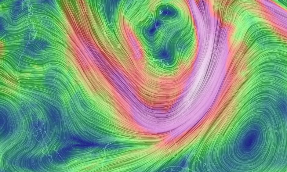 Mid-level winds associated with the displaced polar vortex early on Jan. 7, 2014. Image: earth.nullschool.net