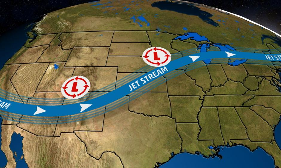 The general jet stream pattern which has brought heavy snow, flooding rain and tornadoes to the central US. so far in 2019. Credit: The Weather Channel