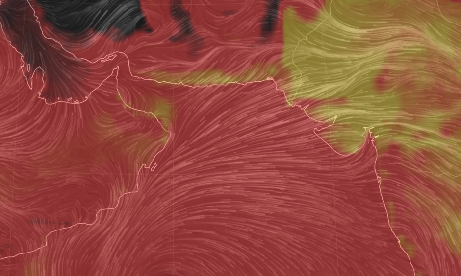 The misery index is near the top of the charts in South Asia. Image: Earth wind map