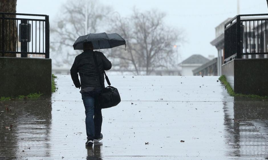 Rain fell in Sacramento on Wednesday, as an atmospheric river delivers moisture up and down the state. Photo: AP