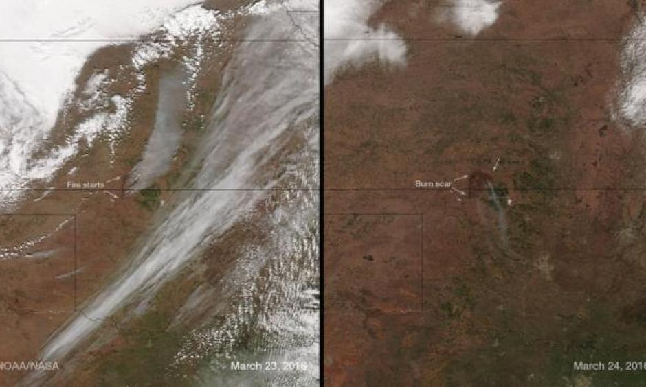 The Anderson Creek wildfire on the Oklahoma-Kansas border is seen NOAA images taken by the Suomi NPP satellite's VIIRS instrument around 3:50 pm ET (1950 GMT) on March 23, 2016, and around 3:30 pm ET (1930 GMT) on March 24, 2016. Image: NOAA