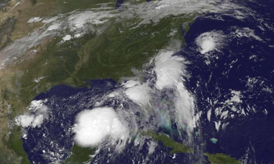 Image: Two Tropical Depressions are shown over the Gulf of Mexico and along the Carolina coast of the United States in this GOES East satellite image captured August 31, 2016. Image: NOAA