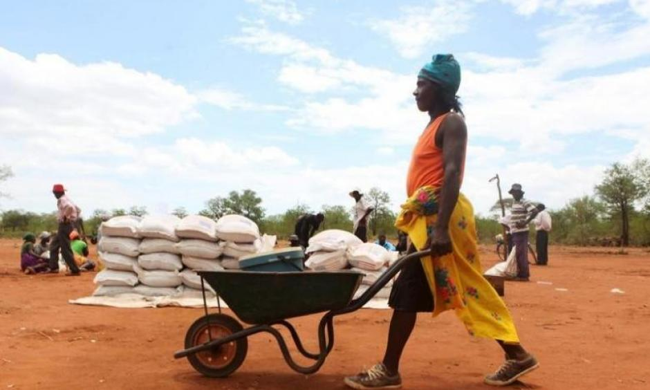 A villager uses a wheelbarrow to collect a monthly food ration provided by the United Nations World Food Programme (WFP) in Masvingo, Zimbabwe, January 25, 2016. Photo: Philimon Bulawayo, Reuters