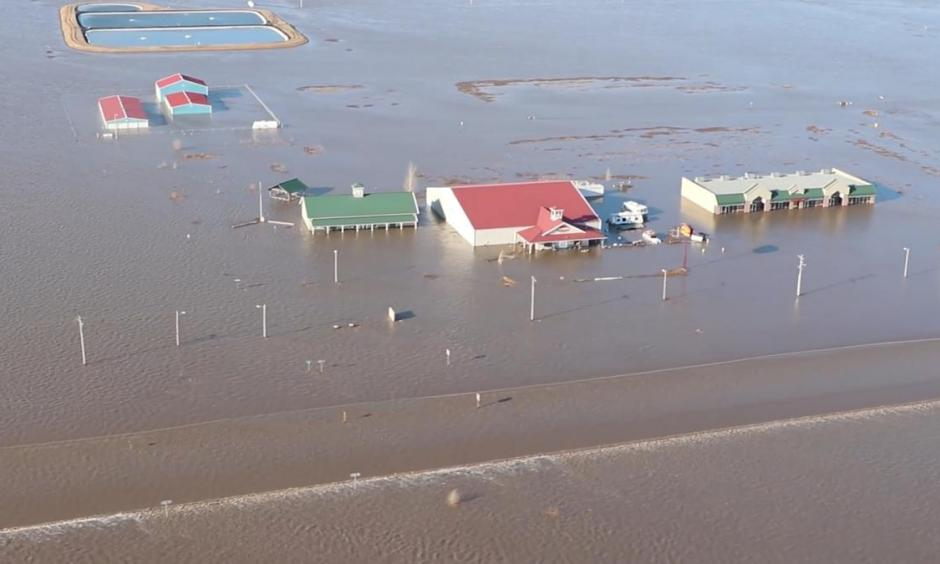 Flooded areas are seen near Nebraska City, Nebraska, U.S., March 20, 2019 in this still image taken from a video obtained from social media on March 21, 2019. Photo: Courtesy Nebraska State Patrol, via Reuters