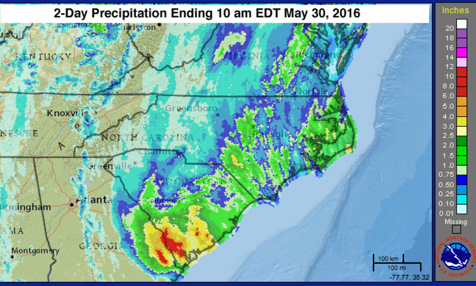 Two-day rainfall amounts from Bonnie for the period ending at 10 am EDT May 30, 2016. Image: National Weather Service
