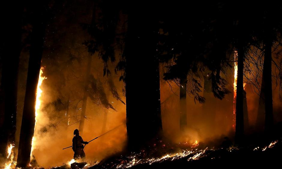 A firefighter monitors a backfire as he battles the King Fire on Sept. 17, 2014, in Fresh Pond (El Dorado County), east of Sacramento. Photo: Justin Sullivan, Getty Images