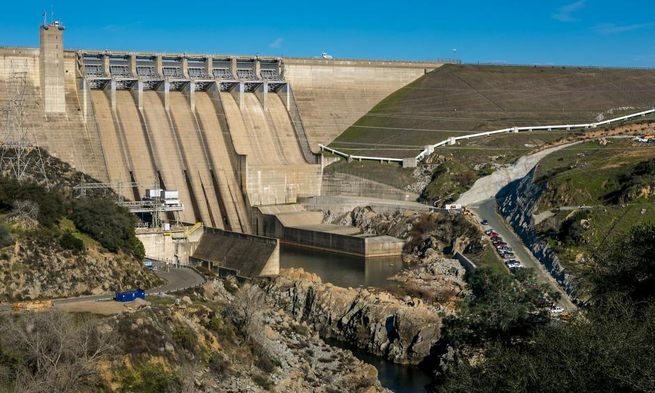 The dam at Folsom Lake is viewed on January 28, 2015 in Folsom, California. Located just east of downtown Sacramento, this city of 78,000 people is home to Folsom Prison, Intel, and Folsom Lake State Recreational Park. Photo: George Rose, Getty Images