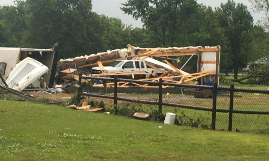 Damage from a likely tornado is seen in Rogers County, Oklahoma, on Thursday, May 11, 2017. Photo: Tiffany Alaniz, FOX23
