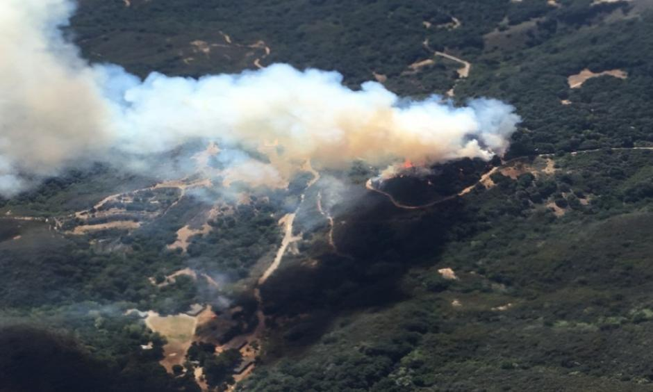 This photo shows a wildfire burning in Los Padres National Forest, north of Santa Barbara, on Wednesday, June 15, 2016, in Goleta, Calif. Photo: Mark Nunez / Los Padres Forest Aviation via AP