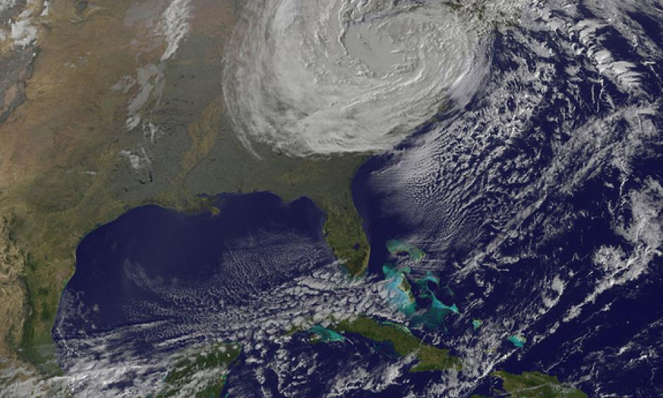 NOAA GOES-13 image of Sandy at 6:02 a.m. EDT Tuesday (Oct. 30). Photo: NOAA/NASA GOES Project