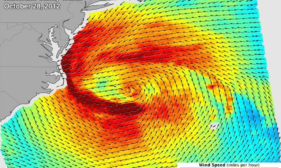Hurricane Sandy's wind field on October 28, 2012, when Sandy was a Category 1 hurricane with top winds of 75 mph. This surface wind data is from a radar scatterometer on the Indian Space Research Organization's (ISRO) Oceansat-2 satellite. Credit: NASA