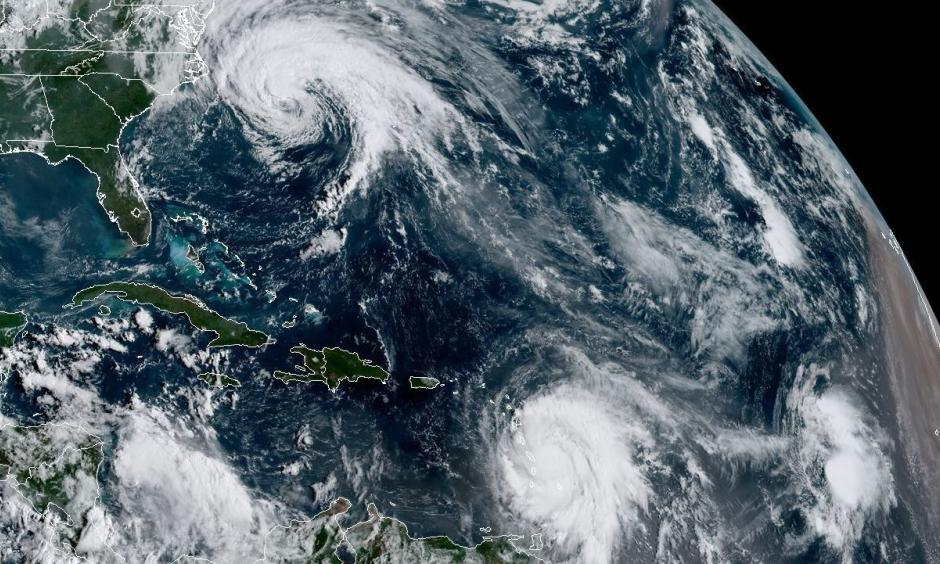 Satellite imagery from NOAA shows Hurricane Jose, along the U.S. East Coast, and Hurricane Maria, in the Atlantic Ocean near the Leeward Islands. Trailing Maria is Tropical Depression Lee. Image: CIRA/CSU and NOAA/NESDIS/RAMMB