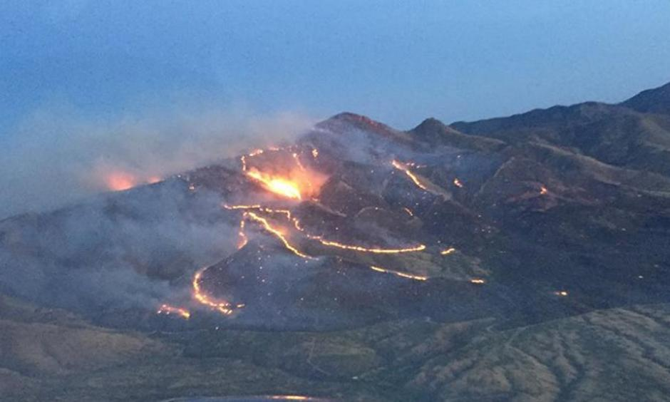 An aerial view of the Sawmill fire in southern Arizona. Photo: Arizona Department of Forestry and Fire Management