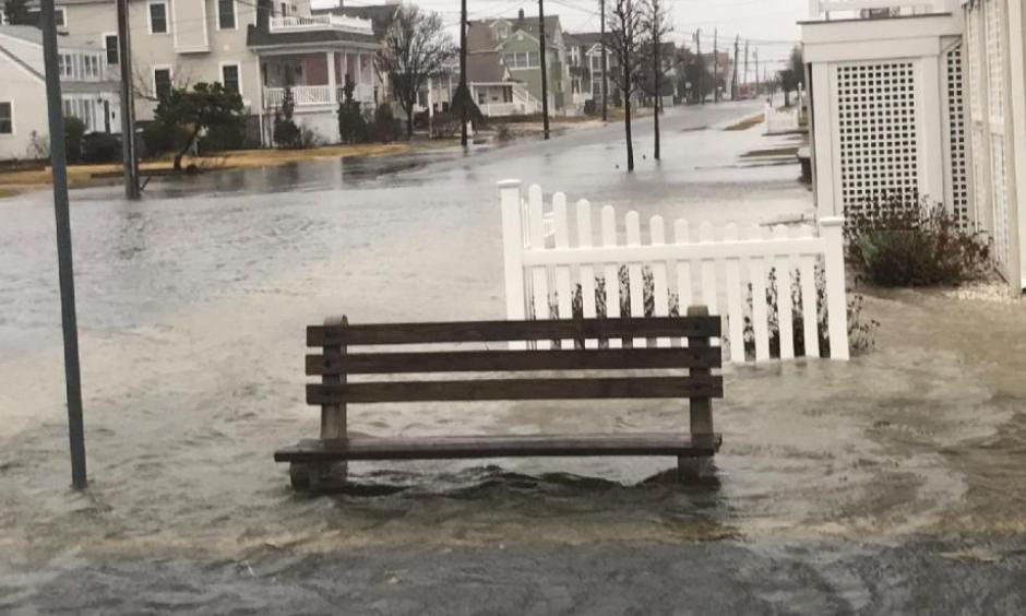 A photo shot after peak tide at Stone Harbor, NJ during Winter Storm Stella. Photo: Zeke Orzech, Twitter