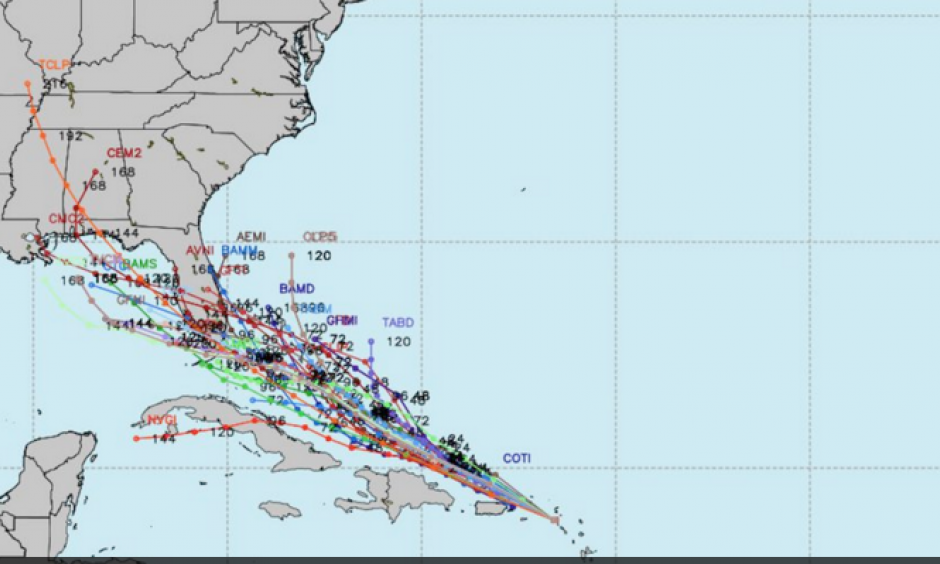 """""""Spaghetti plot"""" of forecast projections from computer models on Wednesday morning, August 24, 2016. Image: Weather Bell"""