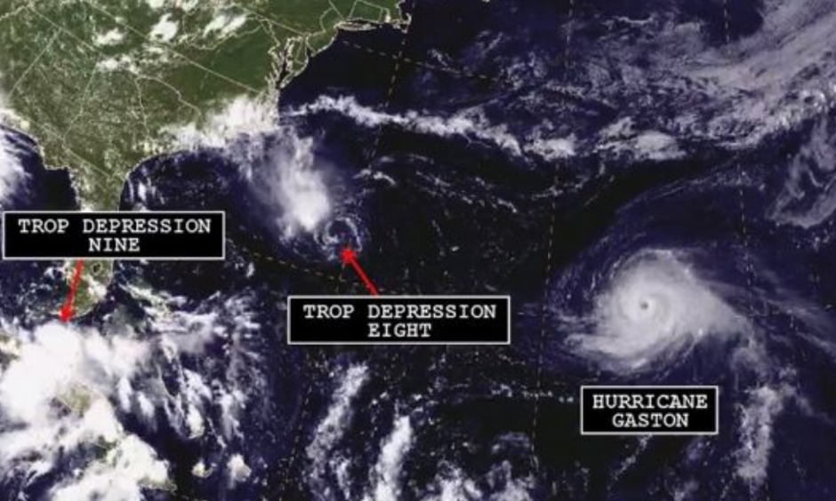 A satellite image shows three separate tropical systems spinning in the Atlantic basin. Photo: NOAA