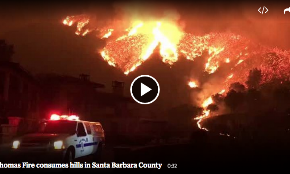 The Santa Barbara County Fire Department shared video of the 230,000-acre Thomas Fire burning in the hills above Bella Vista Drive near Romero Canyon in Montecito on Tuesday, December 12, 2017. Image: Mike Eliason, Santa Barbara County Fire Department