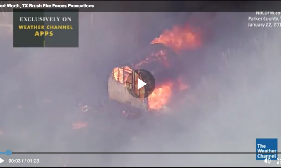 Officials ordered residents to evacuate areas west of Fort Worth, Texas, as several wildfires were fanned by winds and advanced on homes. Image: The Weather Channel