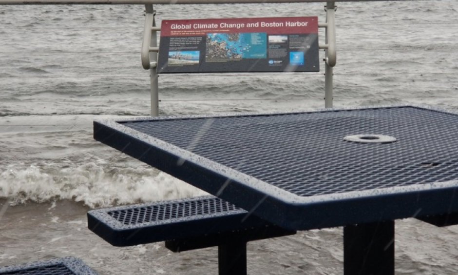 Boston Harbor flooding during a major nor'easter on March 2, 2018. (Look at the sign.) Photo: Matt Beaton on Twitter