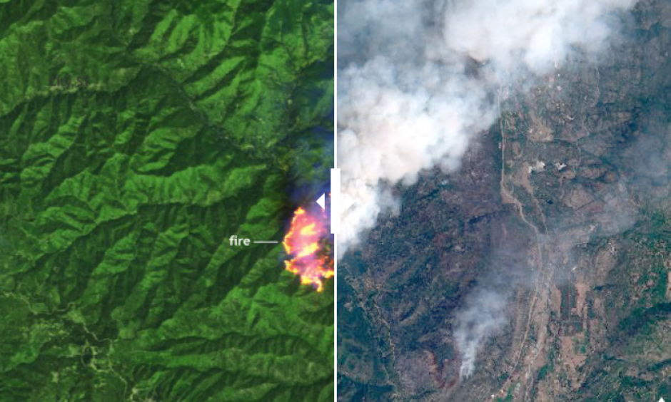 Left: Sentinel satellite image of the 416 Fire in southern Colorado on June 10, 2018, in infrared-enhanced false color. Actively burning areas appear bright yellow, vegetation appears bright green, and burned areas appear reddish brown. Right: Same view in photo-like natural color, which better shows the smoke plume spreading north and east from the fire. Photo: Sentinel Online/European Space Agency