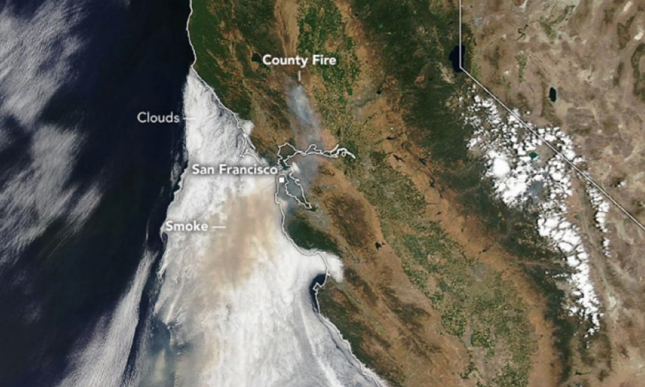 Smoke from the County Fire is seen over California in this image acquired July 1, 2018 by NASA's Aqua satellite. Image: NASA