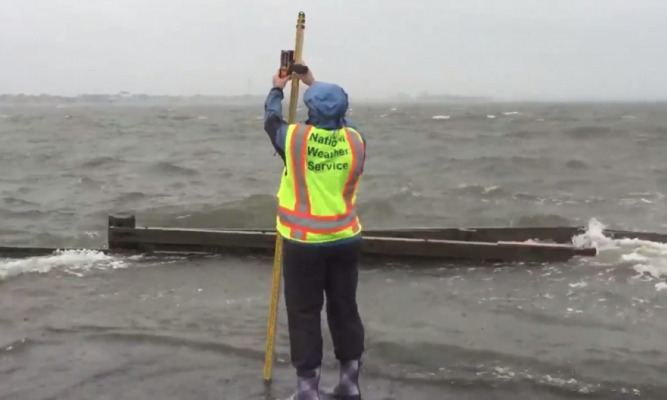 The National Weather Service conducts its first storm survey for Florence. They measured for evidence of storm surge from the Atlantic Intracoastal Waterway at Bogue Sound in Morehead City, North Carolina, Sept. 15, 2018. Photo: NWS Newport/Morehead