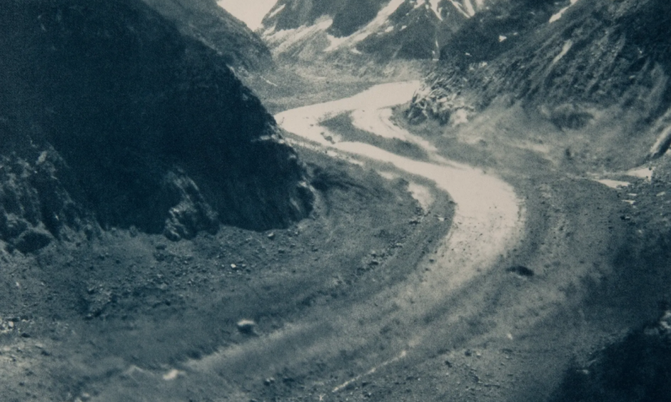 Artist Emma Stibbon's cyanotype 'Mer de Glace, June 2018'. The Mer de Glace, at Chamonix, has retreated by two kilometers from its 1850 position. Photo: Emma Stibbon, courtesy of Alan Cristea Gallery