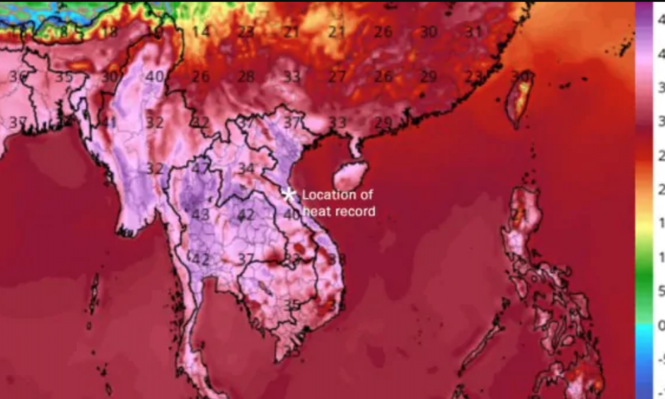 This GFS model shows a simulation of temperatures in degrees Celsius on Saturday afternoon in southeastern Asia. Credit: TropicalTidBits