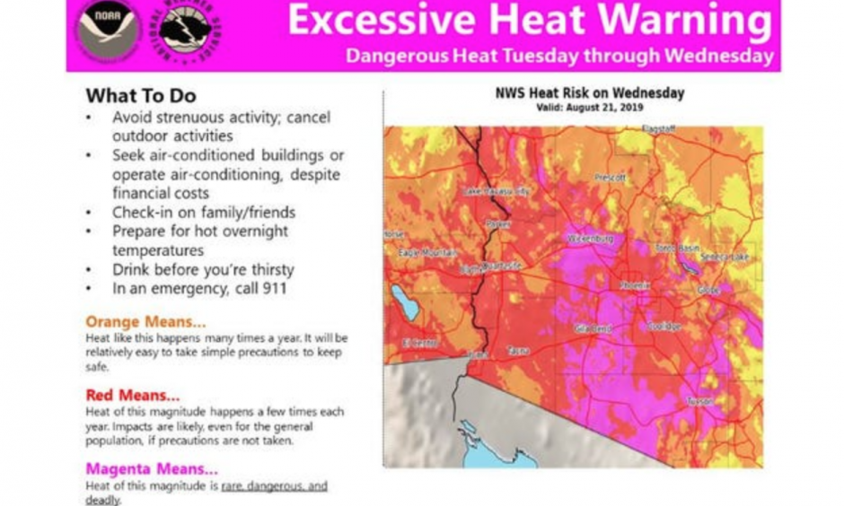 Excessive heat warning for Aug. 21, 2019 from the National Weather Service in Phoenix