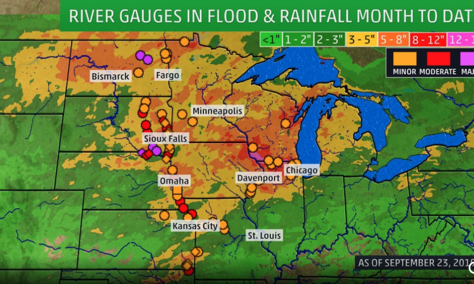River gauges shown are in minor, moderate or major flooding. Contour on the map is rainfall for the month as of September 23.