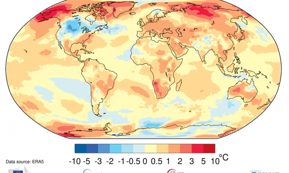 Global average surface temperature departures from average for the January-to-October period. Credit: World Meteorological Organization