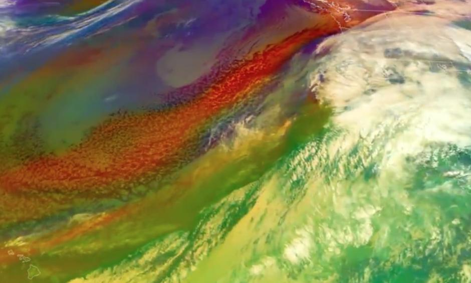 An atmospheric river is channeling moisture near Hawaii toward the West Coast, bringing immense rain and snow. Image: NOAA