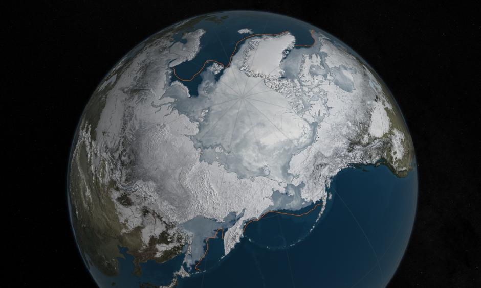 Arctic sea ice was at a record low wintertime maximum extent for the second straight year. At 5.607 million square miles, it is the lowest maximum extent in the satellite record, and 431,000 square miles below the 1981 to 2010 average maximum extent. Image: NASA Goddard's Scientific Visualization Studio, C. Starr