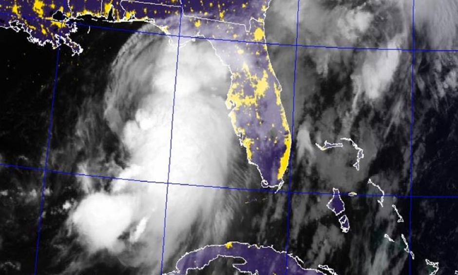 Blended visible/IR satellite image of Tropical Storm Hermine at dawn, 7:45 am EDT September 1, 2016. Image: Navy Research Lab NexSat page