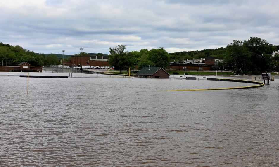 Floodwater from the Meramec River covers athletic fields at Eureka High School in Eureka, Mo., about 30 miles southwest of downtown St. Louis. Photo: David Carson, St. Louis Post-Dispatch via AP