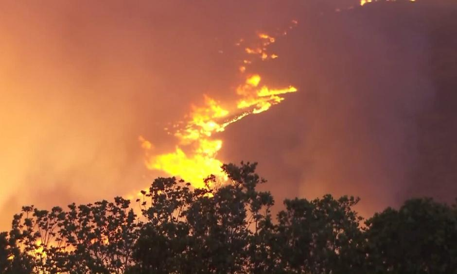 The Sherpa Fire, which broke out west of Goleta on June 15, 2016, burns on a hillside in Santa Barbara County. Photo: KTLA