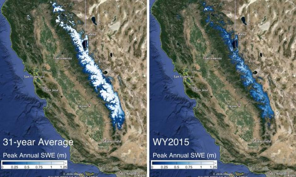 The image on the left shows the 31-year average snow water equivalent in the Sierra Nevada mountains compared with the snow water equivalent in 2015. Image: Steve Margulis/UCLA