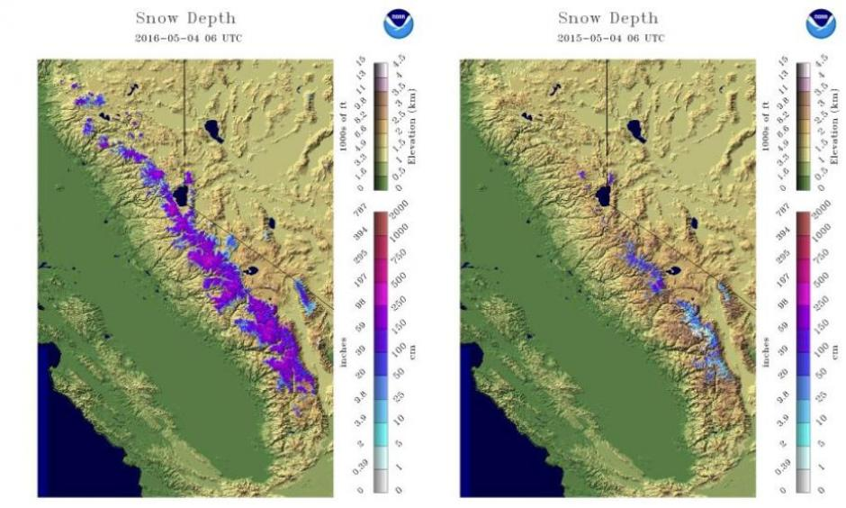 Snowpack comparison in the Sierra Nevada May 4, 2016 (left) to May 4, 2015 (right). As you can see, the amount of snowpack (purple shadings) in the Sierra is much greater than a year ago at this time. Image: NOAA