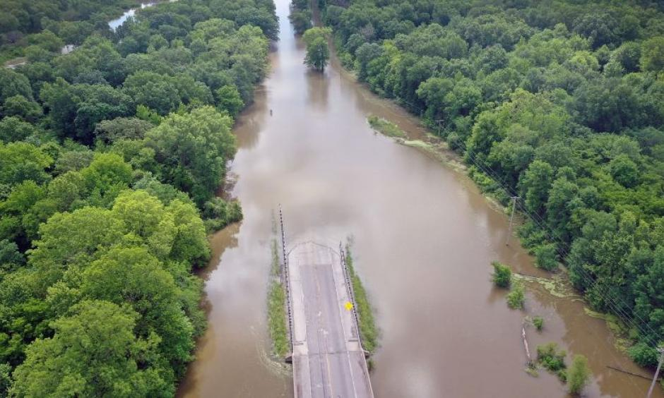 Floodwater covers Highway 3 on May 30 where the Marys and Mississippi Rivers converge near Chester, Ill. Record flooding has inundated the central U.S. this spring. Photo: Scott Olson, Getty Images